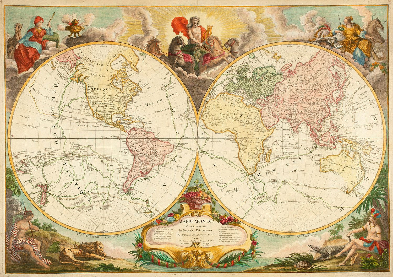 A decorative, double-hemisphere map by Louis Brion de la Tour, from 1783, which tracks the voyages of Captain James Cook.