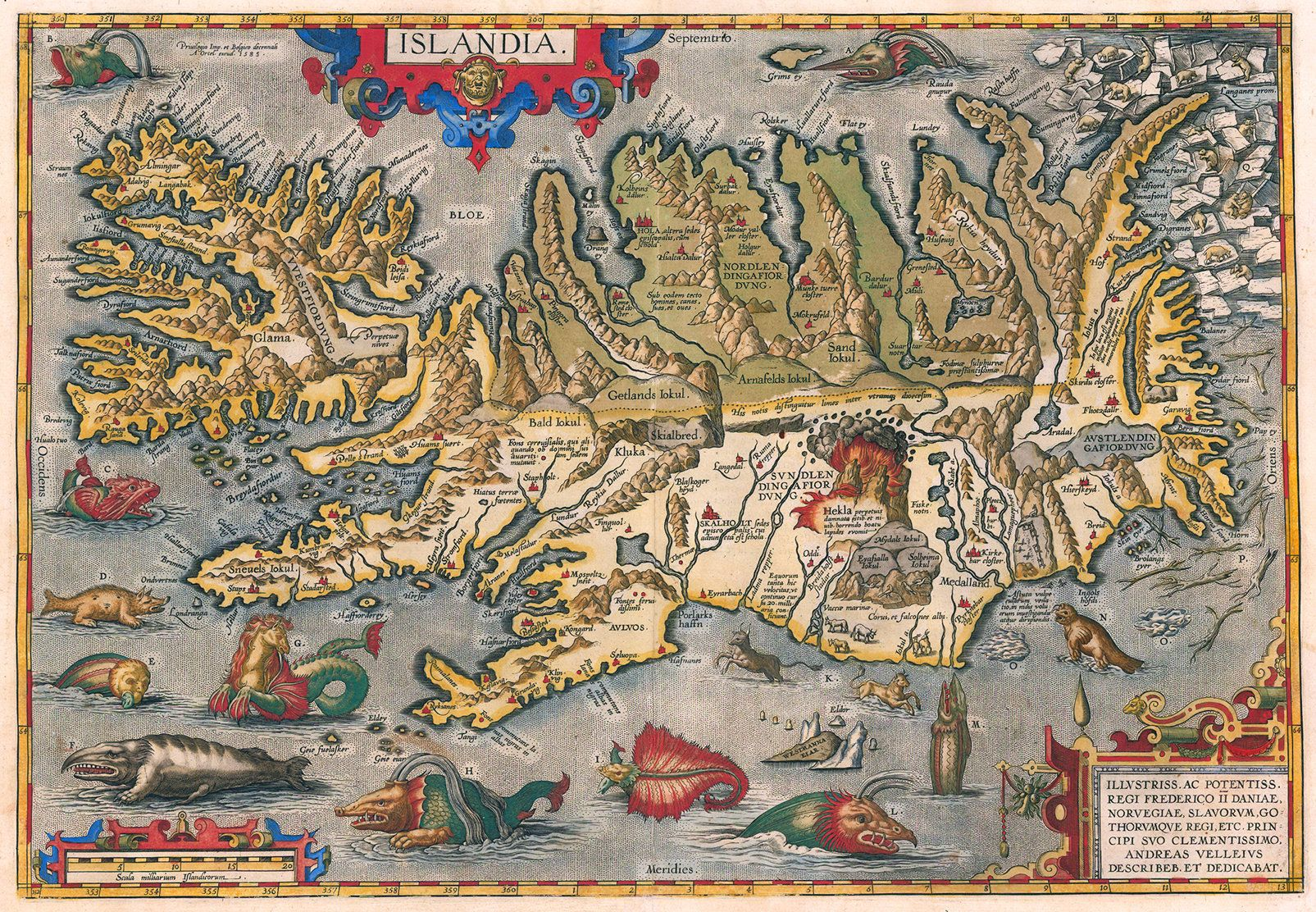 Ortelius' 1587 map of Iceland, complete with exploding volcanoes and mythological sea creatures.