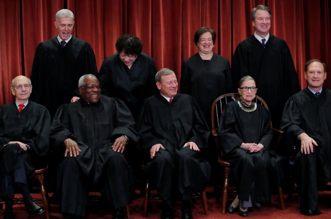 Standing in the top row are Associate Justice Neil Gorsuch, Associate Justice Sonia Sotomayor, Associate Justice Elena Kagan
