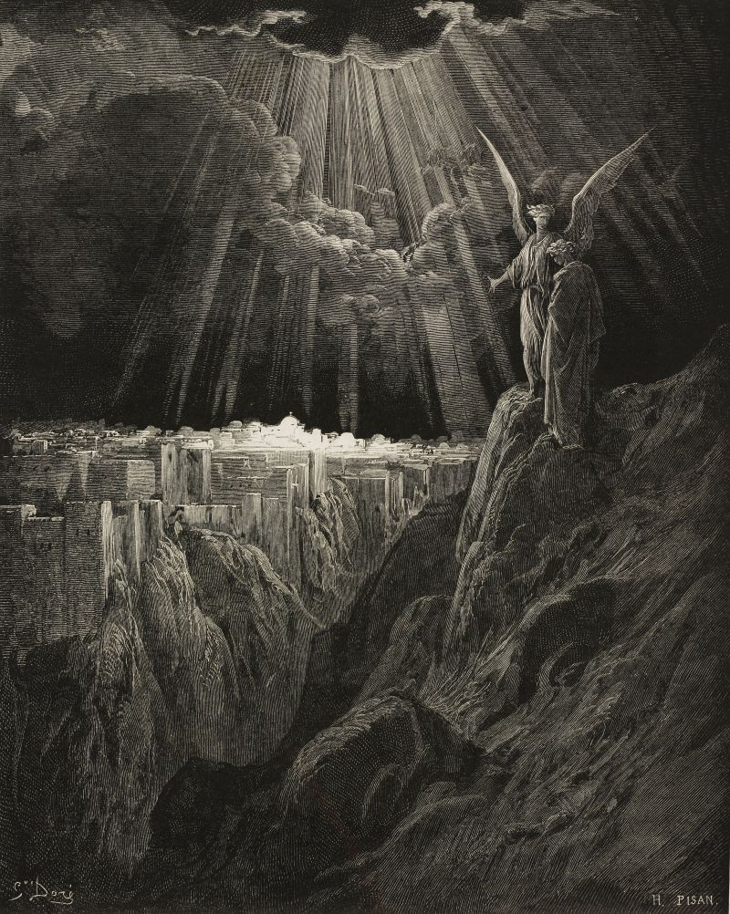 John's revelation of the New Jerusalem is imagined in this 19th-century engraving by the French artist Gustave Doré.