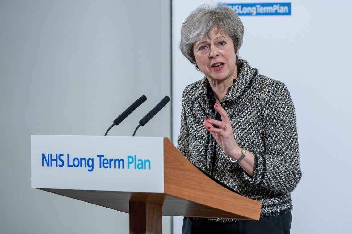 Theresa May announcing the NHS long term plan earlier this month