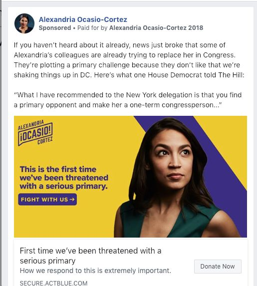 Rep. Alexandria Ocasio-Cortez (D-N.Y.) raised over $  100,000 off of the threat of a primary challenge against her.