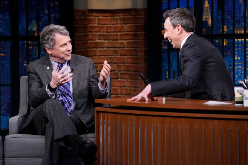 """Sen. Sherrod Brown (D-Ohio) on """"Late Night With Seth Meyers"""" on Jan. 23. Brown, who previously supported """"Medicare for"""