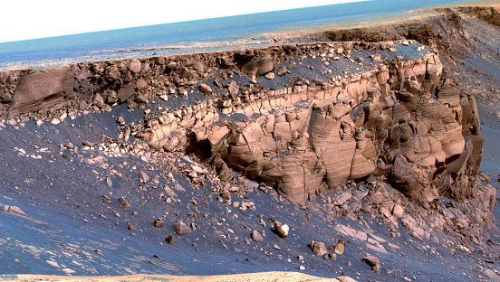 A false-colour image of the Mars landscape captured by Opportunity.