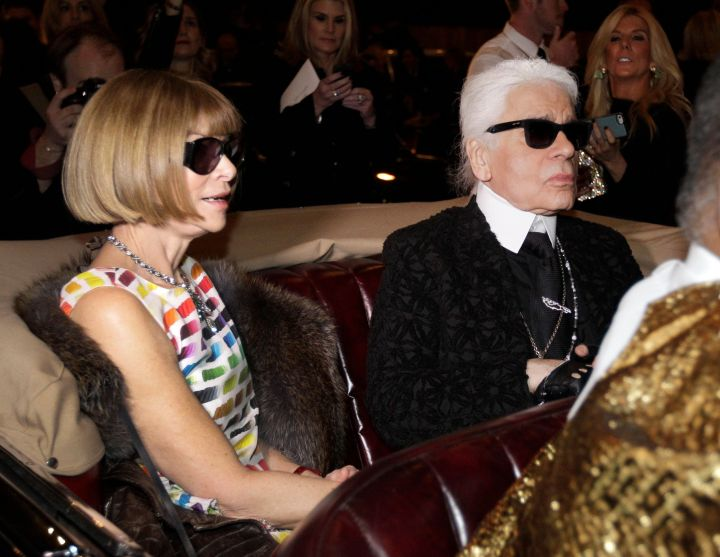 Anna Wintour, left, the editor-in-chief of American Vogue, with Karl Lagerfeld onDec. 10, 2013.