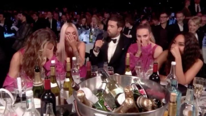 Little Mix laughed as Jack Whitehall made a dig at Piers Morgan at the Brits