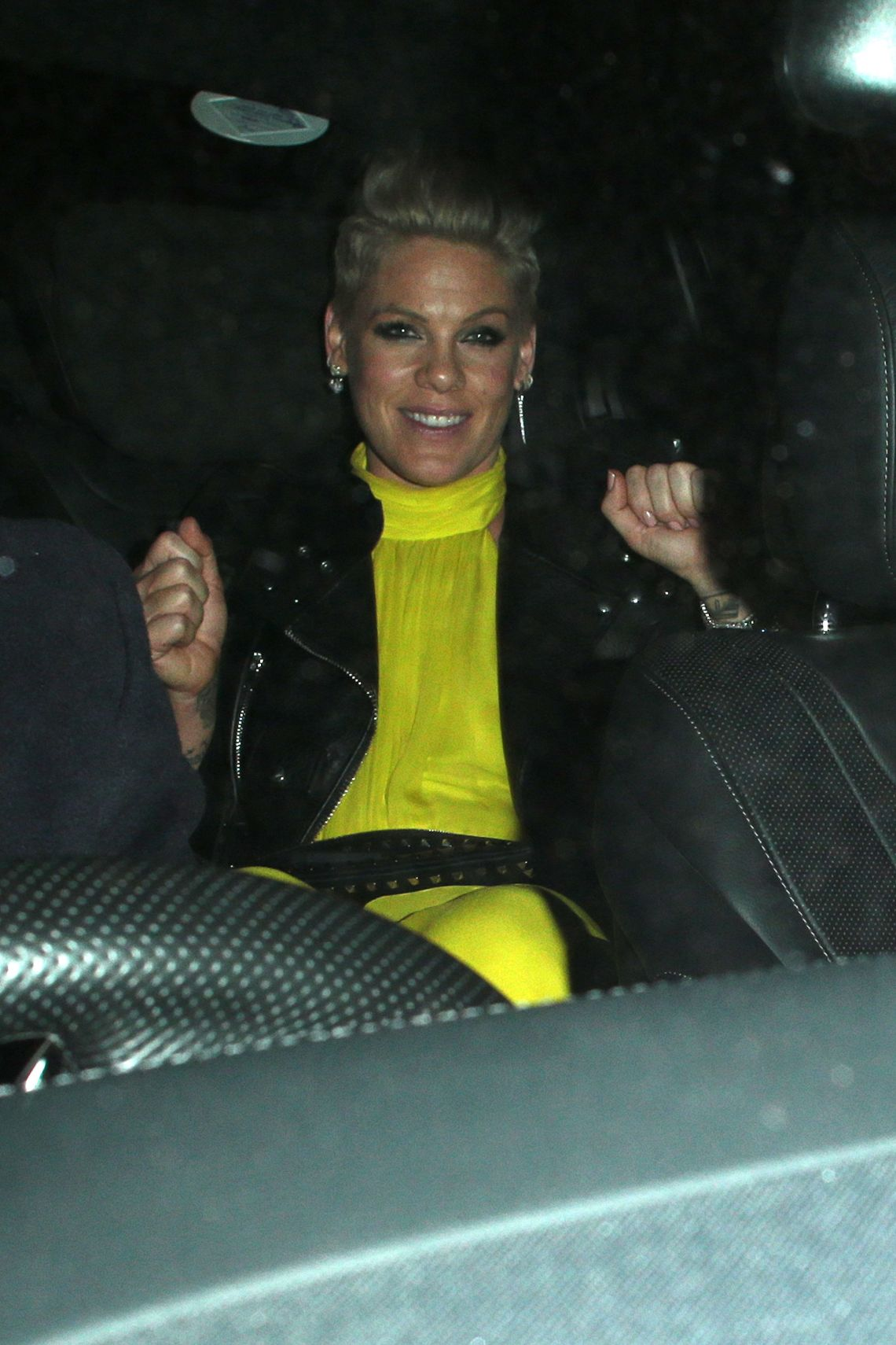 Pink got the party started before she even pulled up in her car.