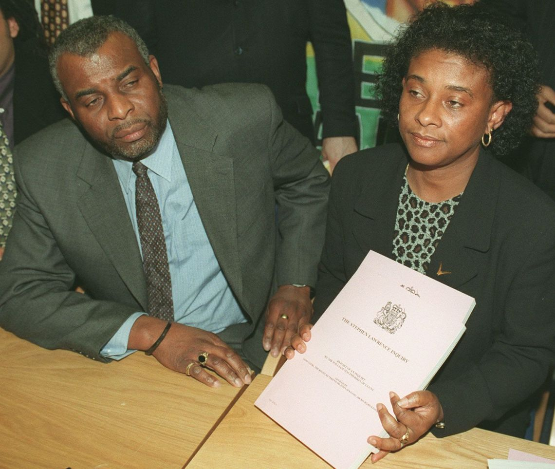 Doreen and Neville Lawrence during a news conference at the Home Office after hearing Home Secretary Jack Straw reveal the outcome of the judicial inquiry into their son's death