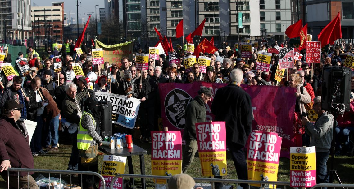 A counter-protest against Robinson took place in the same area, organised by Momentum.