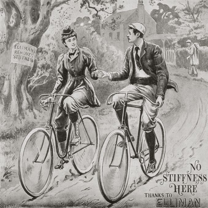 A woman, wearing a type of bloomers, rides her bicycle alongside a man in this 1895 advertisement.