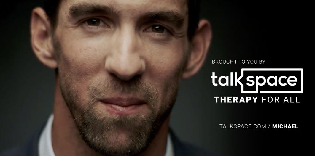 Olympic swimmer Michael Phelps appears an ad for the online and mobile therapy company Talkspace.