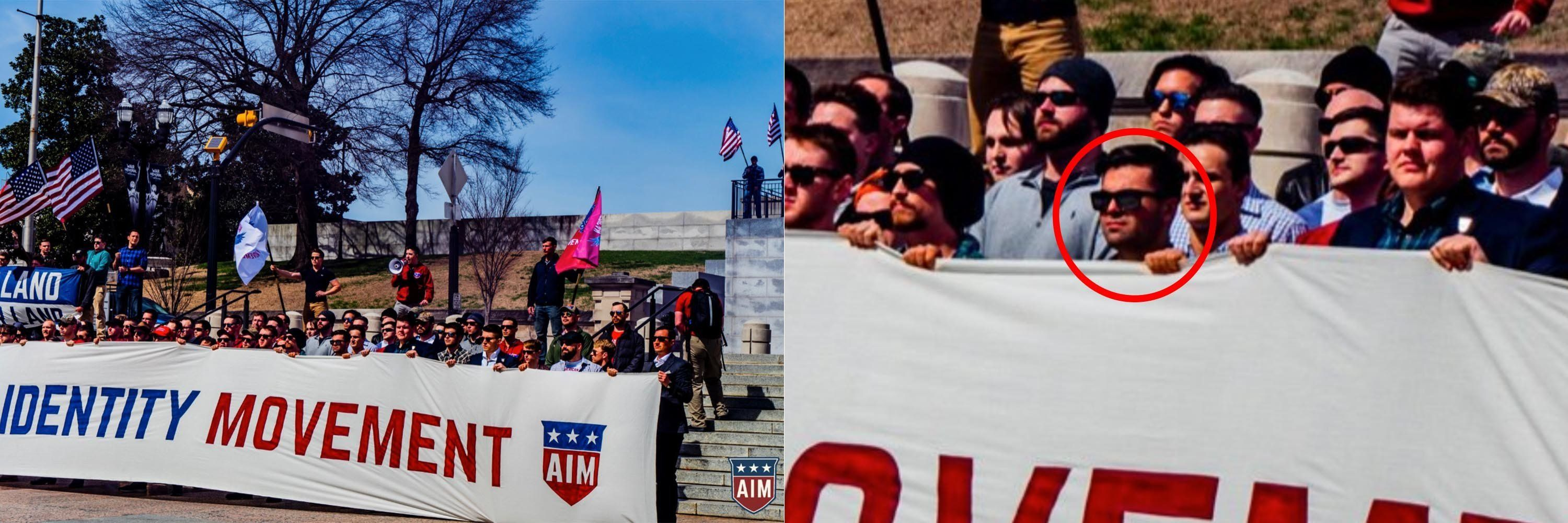 A photo from a gathering of the American Identity Movement, originally called Identity Evropa, posted to Twitter in March 201