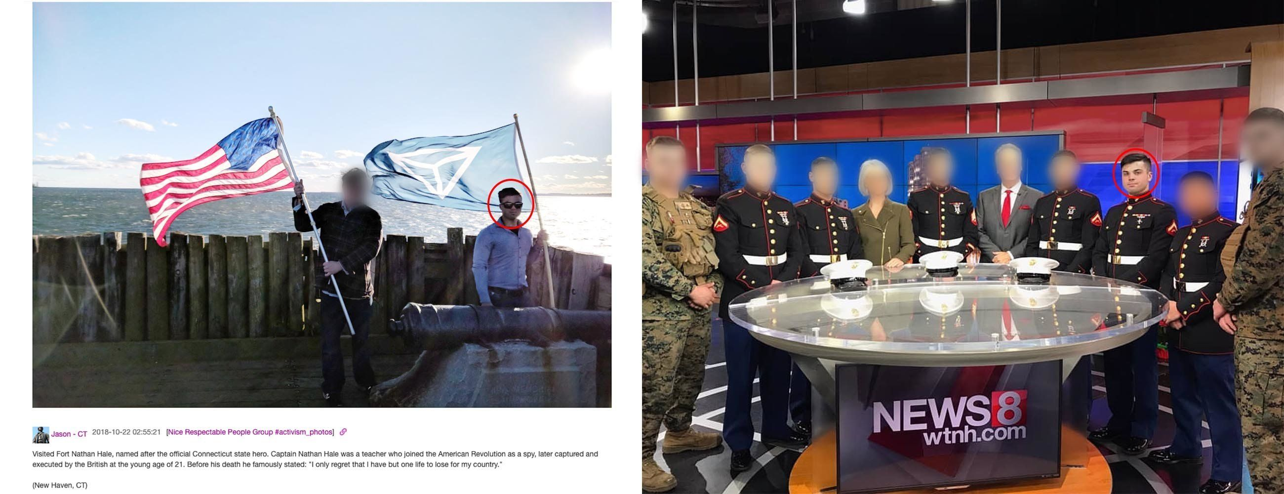 Jason Laguardia posted on the Discord server an image of himself waving an Identity Evropa flag (left). He visited aNew