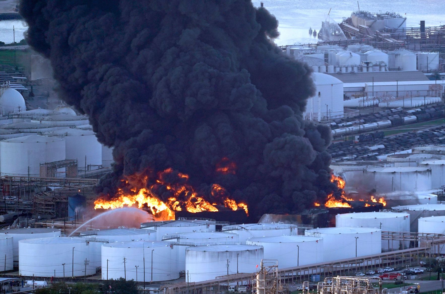 Firefighters battle a petrochemical fire at the Intercontinental Terminals Company on March 18, 2019, in Deer Park, Texas.&nb