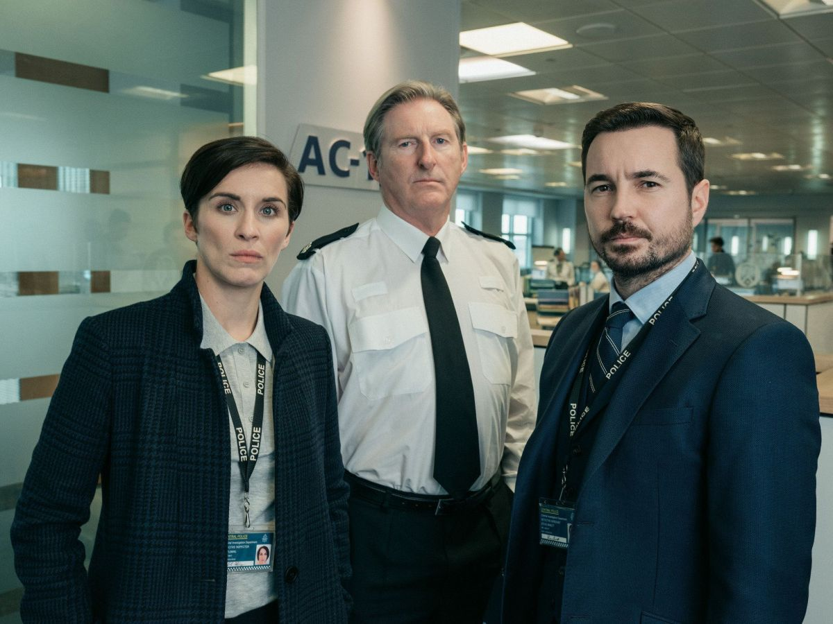 Vicky McClure, Adrian Dunbar and Martin Compston in Line Of