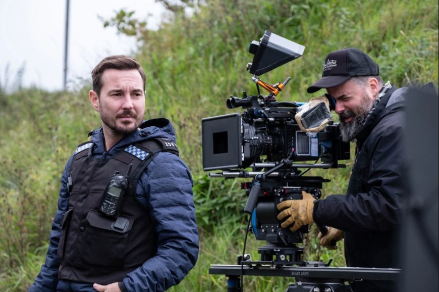 Martin Compston during filming of series