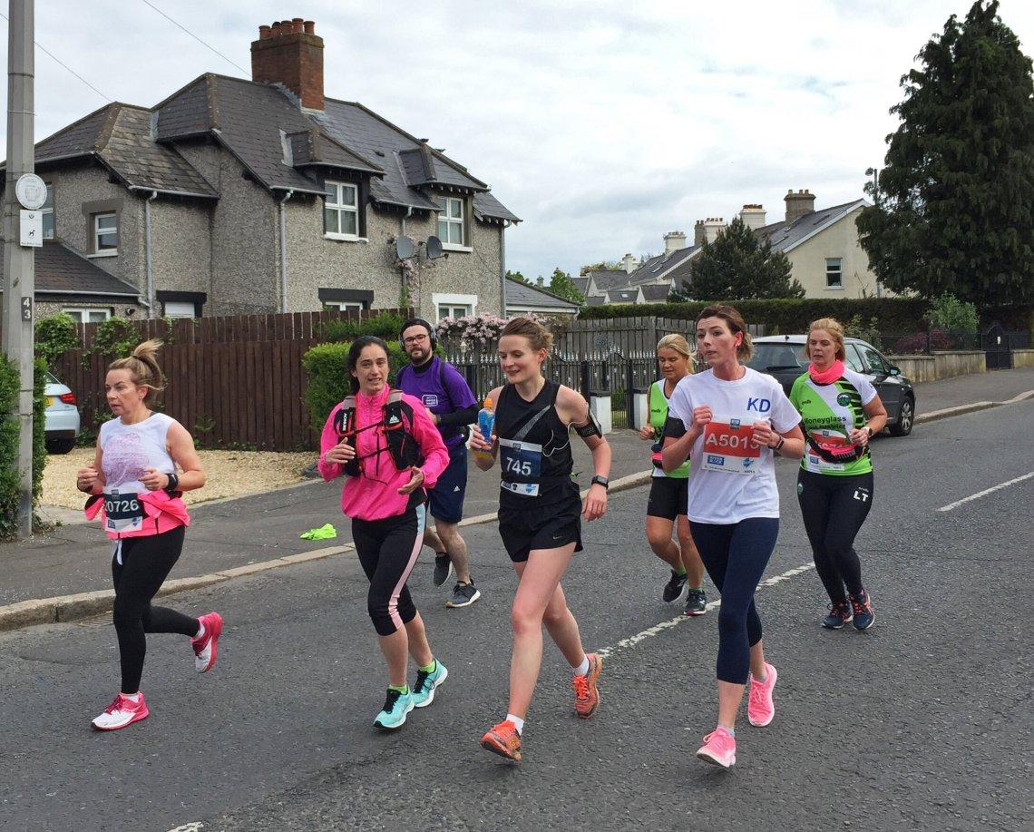 Runners taking part in the Belfast City Marathon.