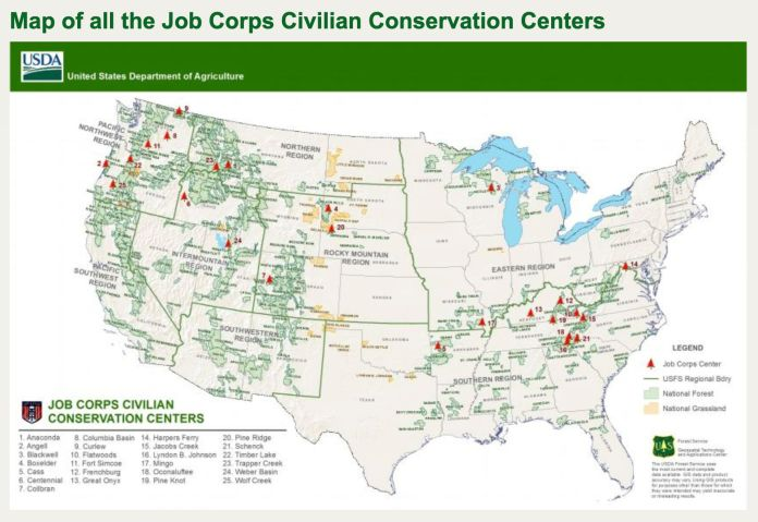 Locations of the Job Corps Civilian Conservation Centers.