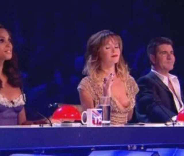 Britains Got Talent Amanda Holden Suffers Nip Slip Wardrobe Malfunction During Live