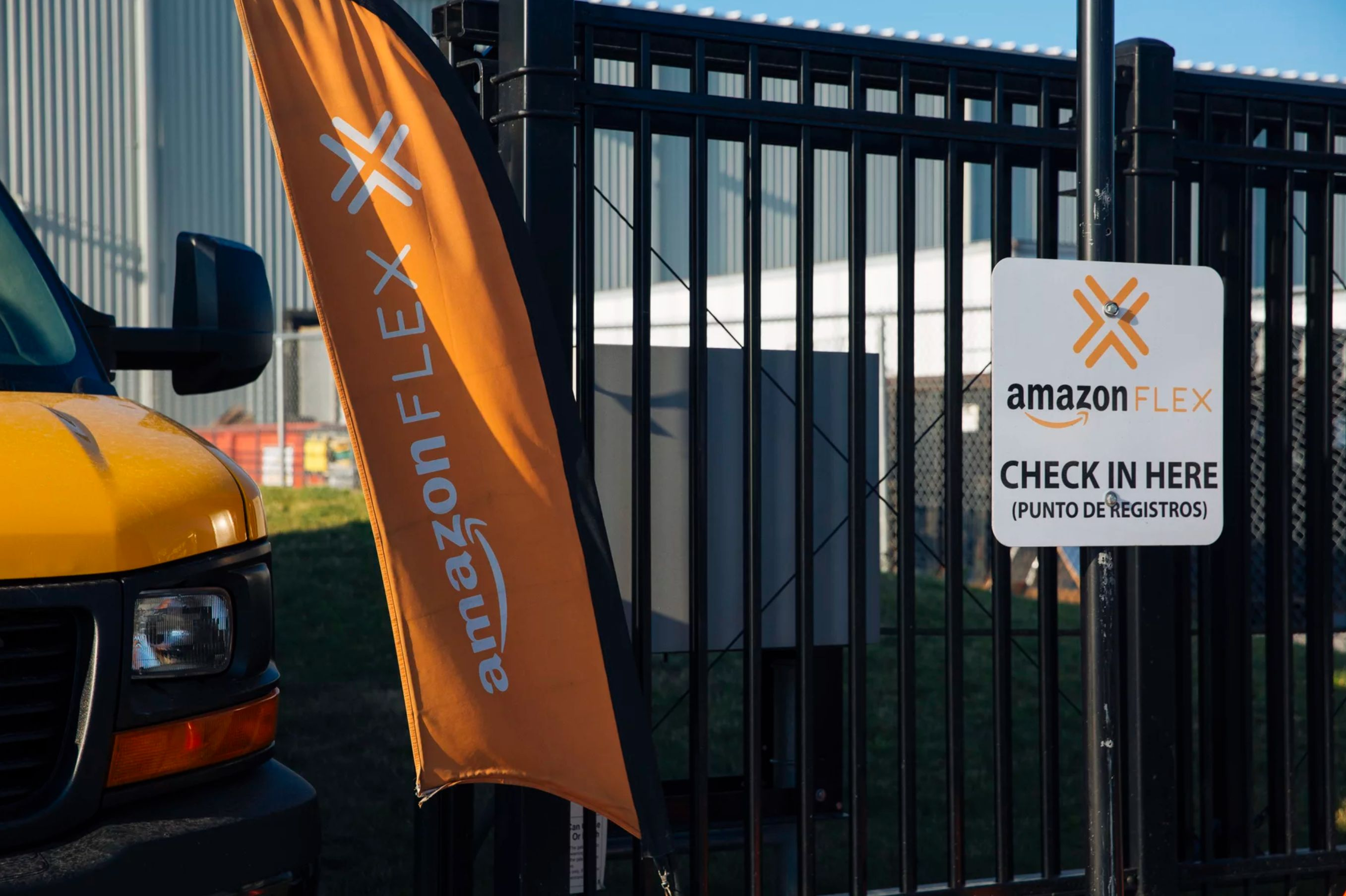 A check-in sign at a Chicago warehouse for Amazon Flex drivers, who sign up for delivery shifts using their own vehicles and