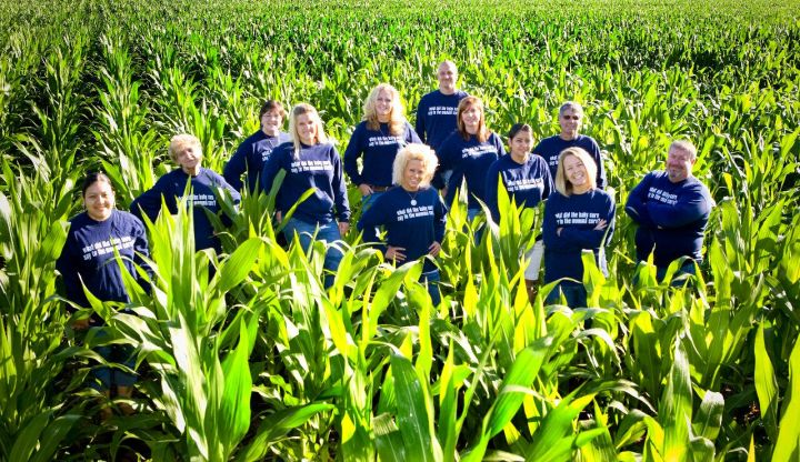 """Dani Paluchniak (second from right) and employees in a cornfield. The riddle on the fronts and backs of their shirts is: """"What did the baby corn say to the mama corn? Where's pop corn?"""""""