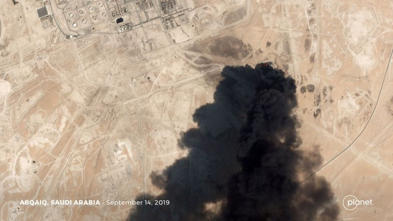 A satellite image shows an apparent drone strike on an Aramco oil facility in Abqaiq, Saudi Arabia September 14, 2019. Planet Labs Inc/Handout via REUTERS THIS IMAGE HAS BEEN SUPPLIED BY A THIRD PARTY. NO SALES NO ARCHIVES     TPX IMAGES OF THE DAY