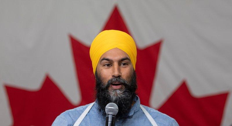 NDP Leader Jagmeet Singh speaks during a town hall meeting in Sudbury, Ontario, on Tuesday, Sept. 17, 2019. (Adrian Wyld/The Canadian Press via AP)