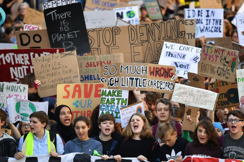 Campaigners protest during a climate change action day on Sept. 20, 2019, in Edinburgh, Scotland.  Credit: Jeff J. Mitchell/Getty Images