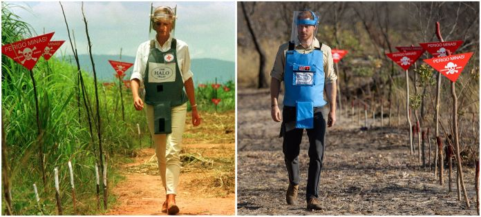 Left: Princess Diana walking in a safety corridor of a land mine field in Huambo, Angola, on Jan. 15, 1997. Right: Prince Har