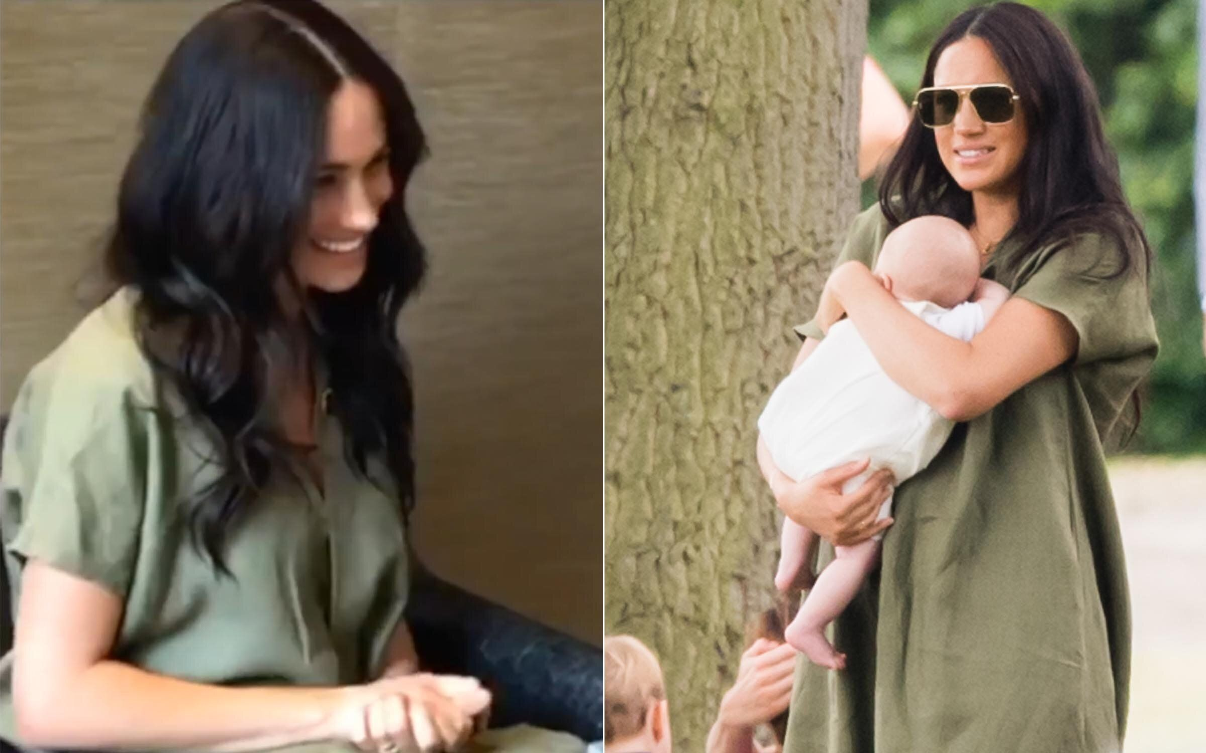 (Left) Meghan on a Skype call with the Nalikule College of Education on Sept. 29, 2019. (Right) The Duchess of Sussex at