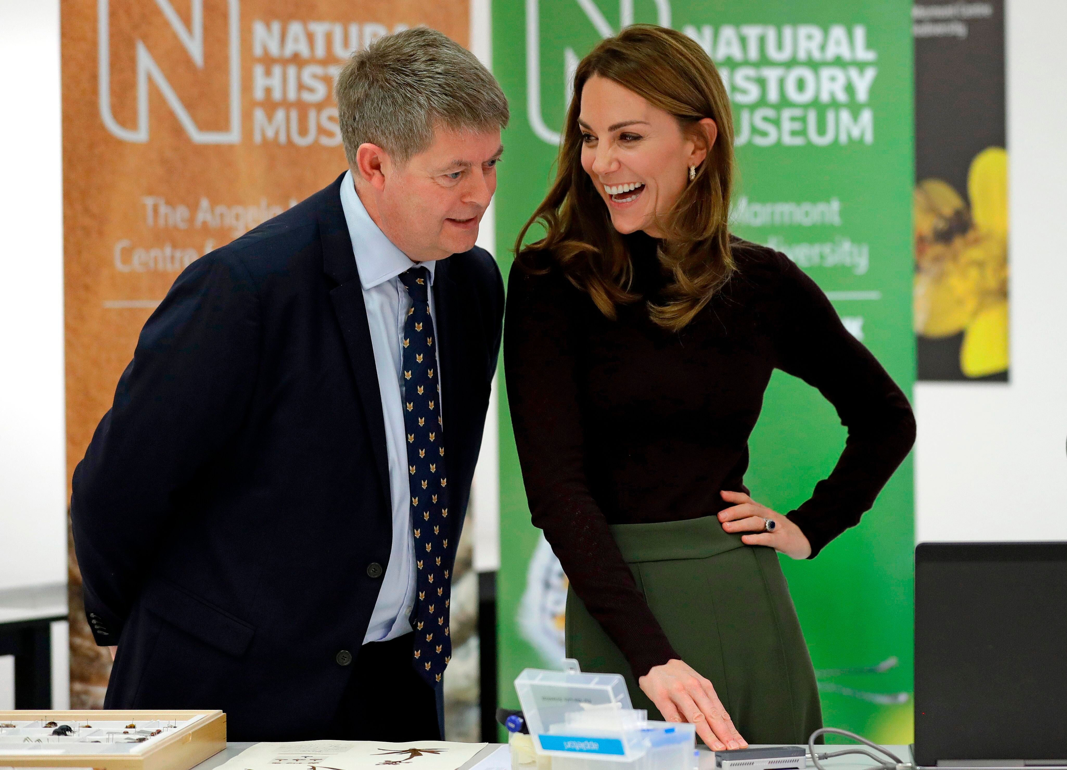 The duchess speaks with Michael Dixon, director of the Natural History Museum, during her visit.