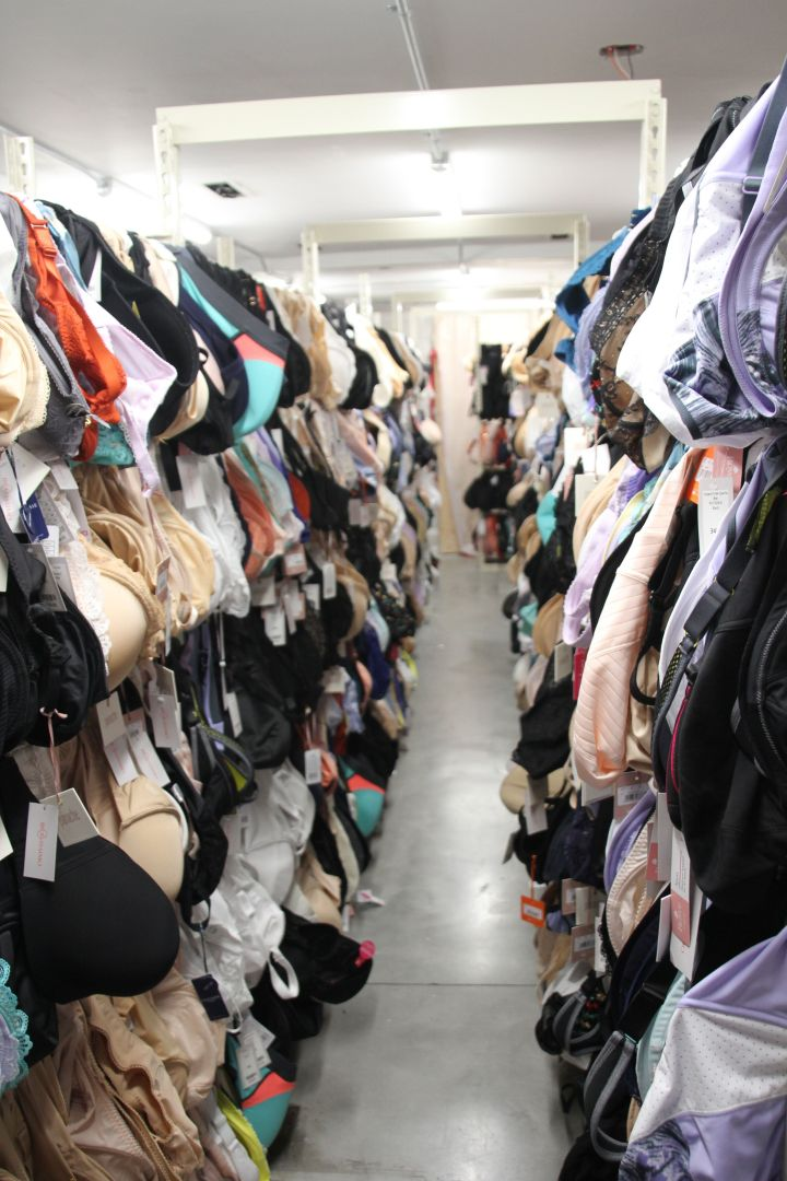 Bravissimo's stock room in New York City includes bras in cup sizes ranging all the way up to L.