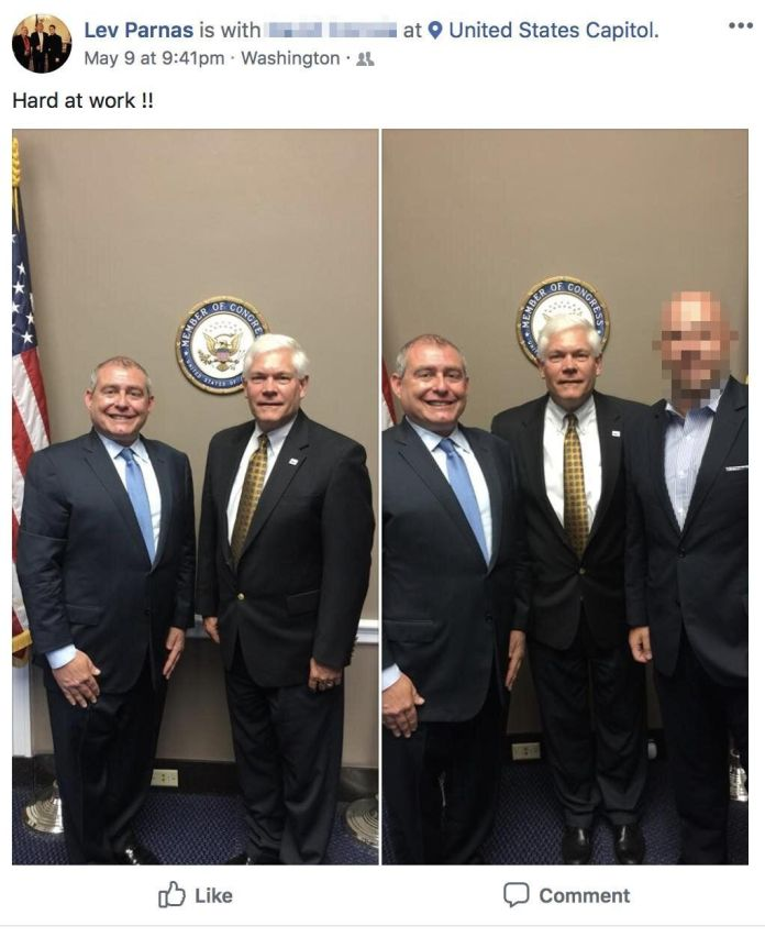 Lev Parnas meets with then-Rep. Pete Sessions (R-Texas) in May 2018.