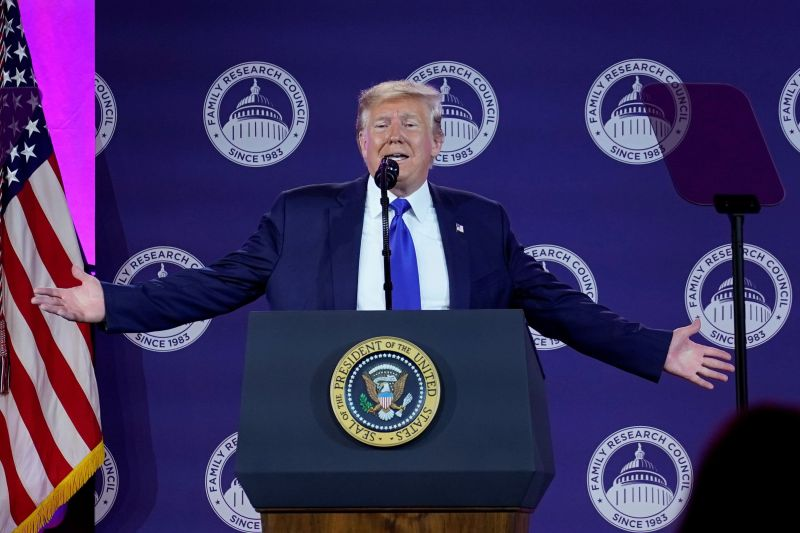 U.S. President Donald Trump addresses conservative activists at the Family Research Council's annual gala in Washington, U.S., October 12, 2019. REUTERS/Yuri Gripas