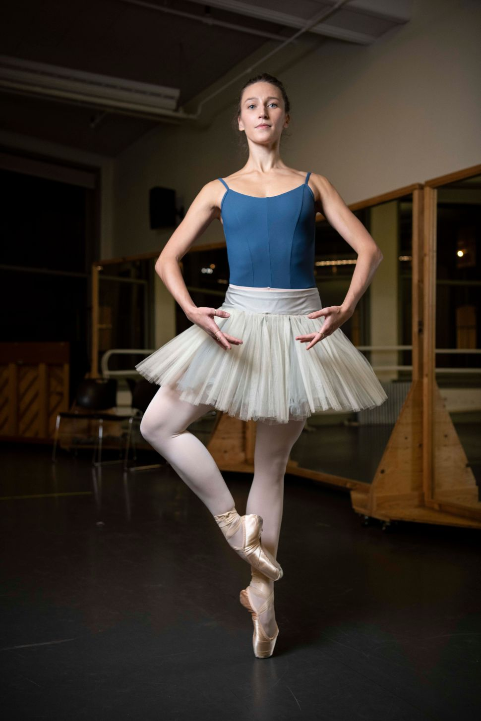 """Teuscher poses in her&nbsp;<a href=""""https://ketodancewear.com/womens/"""" target=""""_blank"""" rel=""""noopener noreferrer"""">Keto</a> leotard, <a href=""""https://www.capezio.com/women/tights"""" target=""""_blank"""" rel=""""noopener noreferrer"""">Capezio pink tights</a>, <a href=""""http://us.blochworld.com/product/S0104L"""" target=""""_blank"""" rel=""""noopener noreferrer"""">Bloch Alpha pointe shoes</a> and a practice tutu that was handed down to her by fellow principal&nbsp;<a href=""""https://www.abt.org/people/gillian-murphy/"""" target=""""_blank"""" rel=""""noopener noreferrer"""">Gillian Murphy</a>."""
