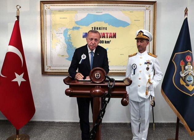 Τις τουρκικές διεκδικήσεις στο πλαίσιο της αποκαλούμενης «Γαλάζιας Πατρίδας» παρουσιάζει χάρτης σε φωτογραφία...