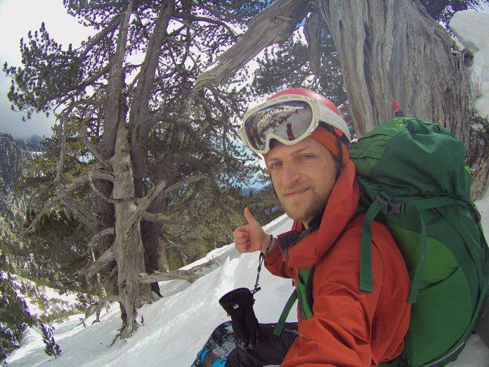 O Ηλίας Γερμαντζίδης σε χειμερινή κατάβαση στο ρέμα του Γκαβού στον