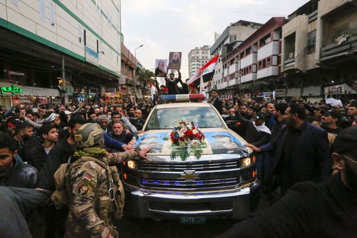 """Thousands of Iraqis chanting """"Death to America"""" joined the funeral procession on Saturday."""