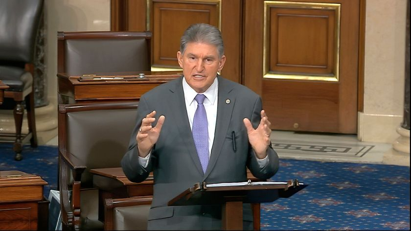 In this image from video, Sen. Joe Manchin (D-W.Va.) speaks on the Senate floor Monday about the impeachment trial against Pr
