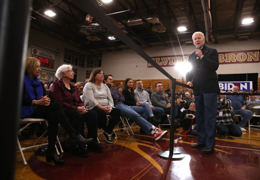 Democratic presidential candidate Joe Biden speaks during a campaign event on Feb. 9 in Hudson, New Hampshire.