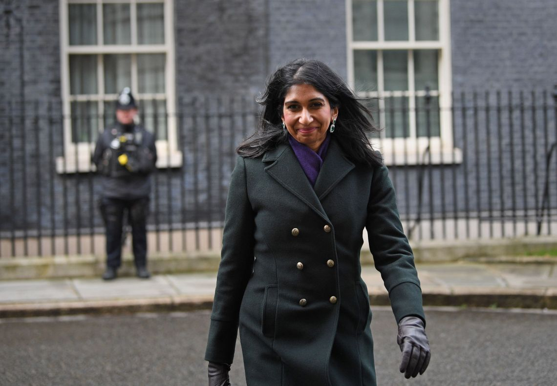 Newly appointed Attorney General Suella Braverman leaving Downing Street