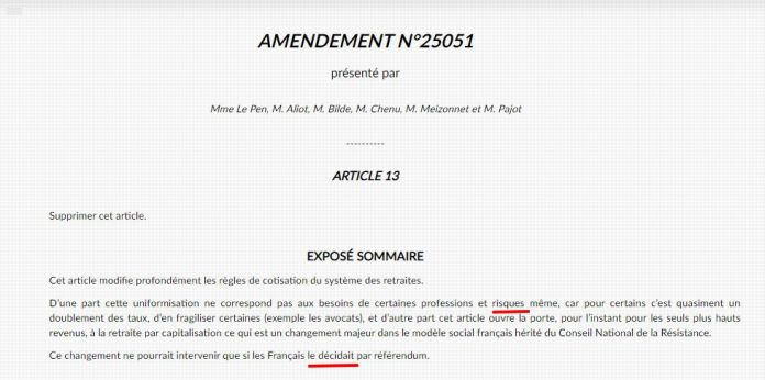 Screen capture of one of the amendments tabled by Marine Le