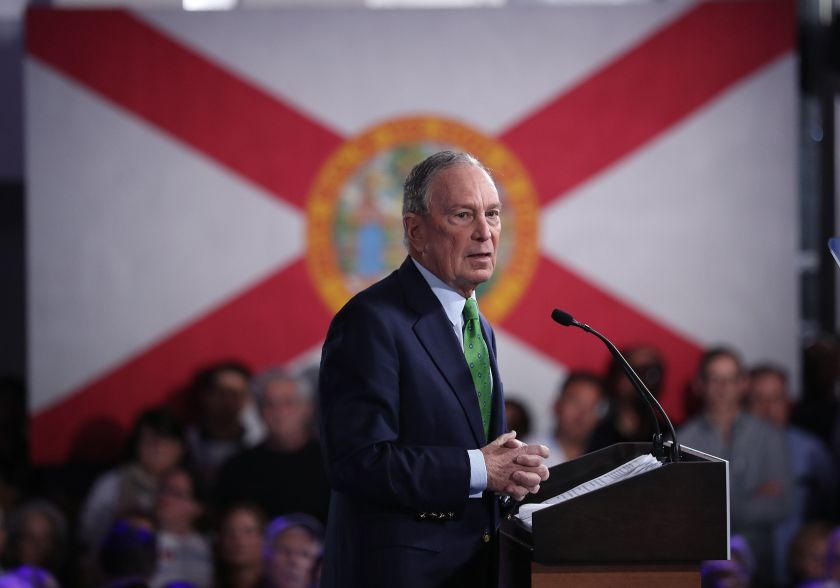 """Democratic presidential candidate former New York City Mayor Mike Bloomberg speaks during a """"United for Mike,"""" ev"""