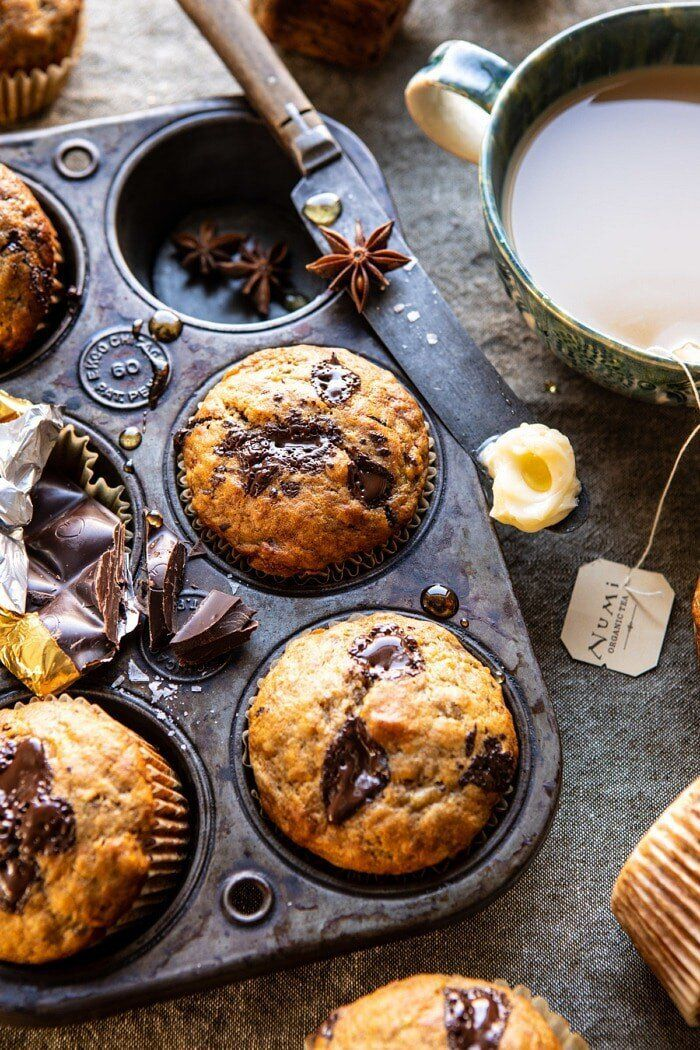 Get the One-Bowl Chocolate Chunk Chai Banana Muffins recipe from Half Baked Harvest