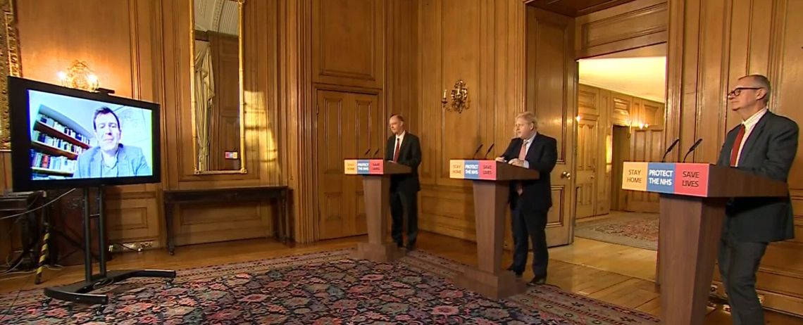 Chief Medical Officer Chris Whitty, Prime Minister Boris Johnson and Chief Scientific Adviser Sir Patrick Vallance.