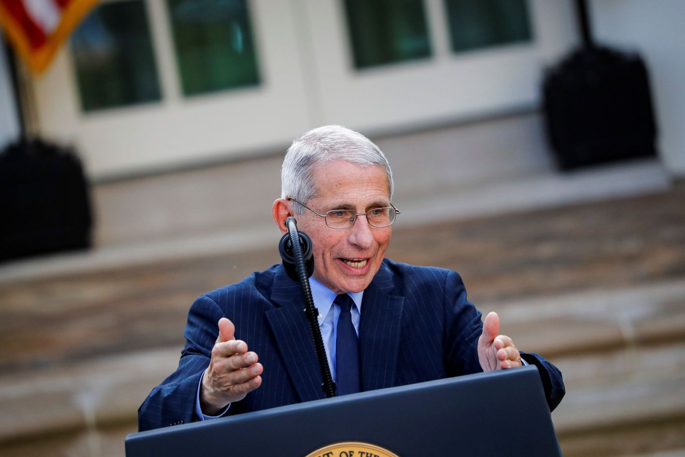 NIH National Institute of Allergy and Infectious Diseases Director Anthony Fauci speaks during a news conference in the Rose Garden of the White House Sunday.