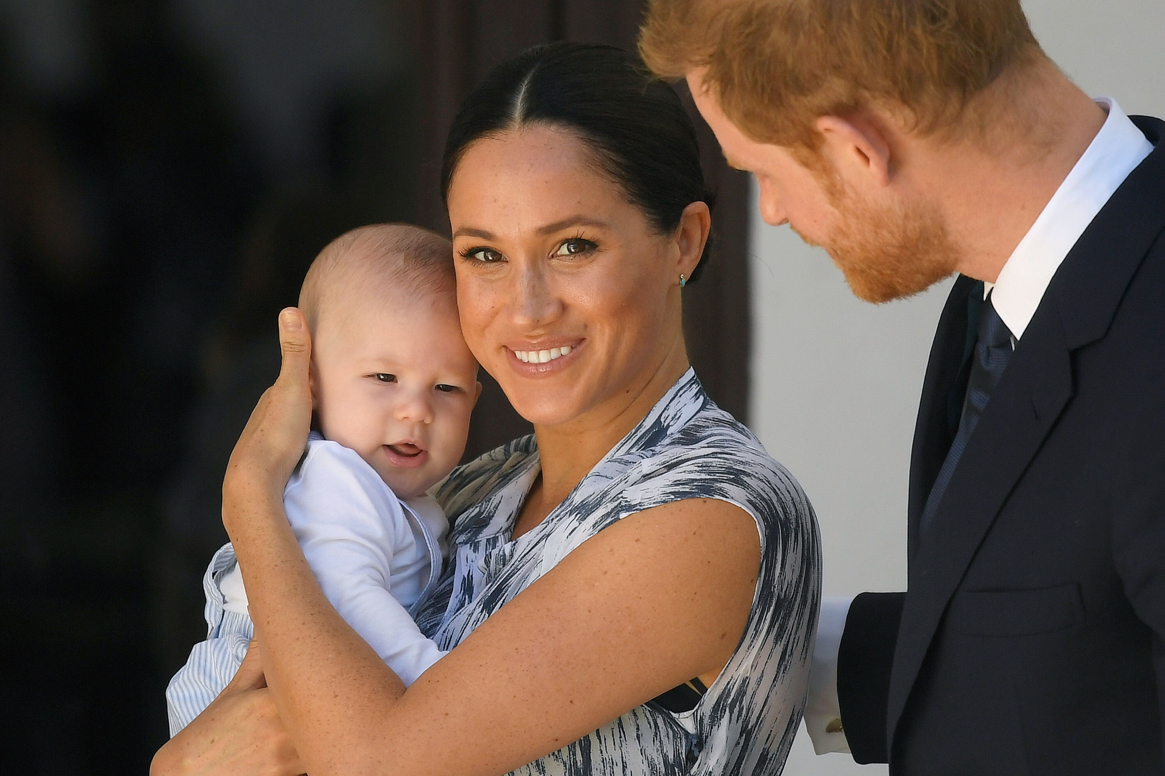 Archie, Meghan and Harry at a meeting with Archbishop Desmond Tutu at the Desmond & Leah Tutu Legacy Foundation during th