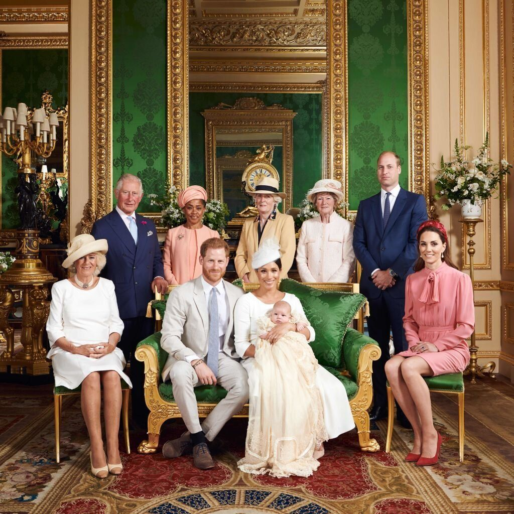 Harry, Meghan and Archie flanked by Camilla, Duchess of Cornwall; Prince Charles; Doria Ragland; Lady Jane Fellowes; Lady Sar