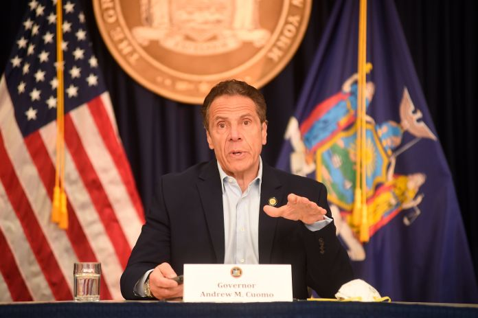 New York Gov. Andrew Cuomo briefs the media during a coronavirus news conference at his office in New York City, Saturday, Ma