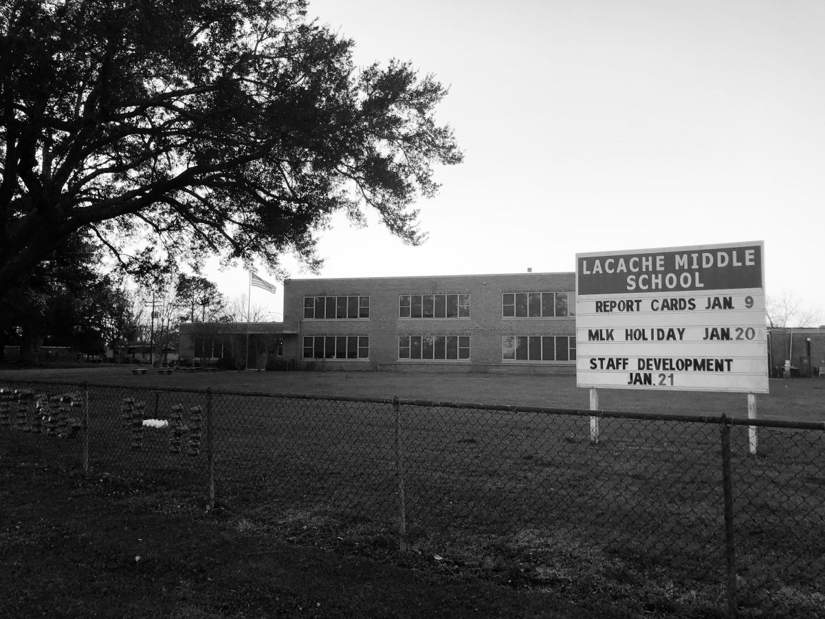 Lacache Middle School in Chauvin, Louisiana, loses students each year as their families move to less flood-prone areas.